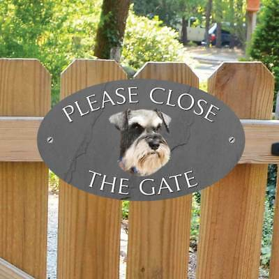 Schnauzer Sign, Please Close The Gate Sign, Schnauzer Dog Shut the Gate Plaque