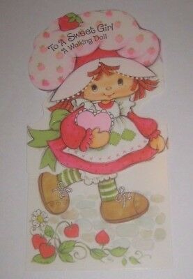 VALENTINE'S Day STRAWBERRY SHORTCAKE Punch Out WALKING Paper DOLL Greeting CARD