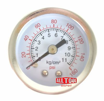 "Air Pressure Gauge 1.5"" Center Back Mount 1/8"" NPT 1-1/2"" Dial - 0 to 160 PSI"