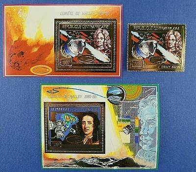 Space Raumfahrt 1986 Central Africa Halley`s Comet Gold 1247 Block 399-400/1327