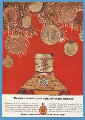 1962 US Gold Coins If Money Grew on Christmas Trees Haig Pinch Scotch Whisky Ad