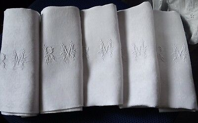 "5 Huge Antique Pure Linen RM Monogramed Damask Napkins   28""x 32"""