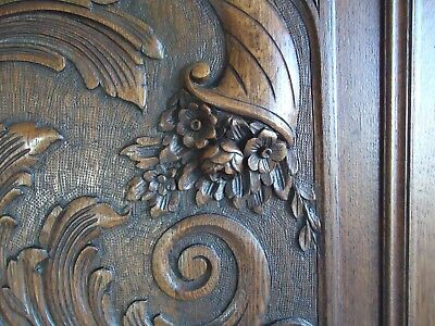french antique carved wood door panel cornucopia mythology