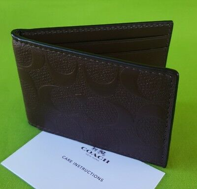 NEW MEN'S COACH SIGNATURE LEATHER ID CARD CASE IN MAHOGANY BROWN (No Tag)