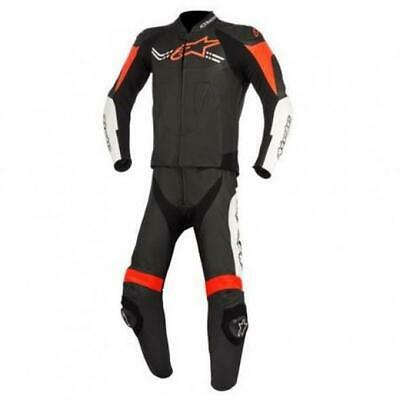 Alpinestars Mens Challenger v2 2 Piece Leather Suit - Black White Fluro Red
