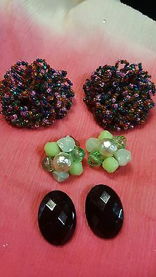 Mixed Lot Of Three Pair Vintage Earrings, Purple Pompom Beads, Green Bead, Black