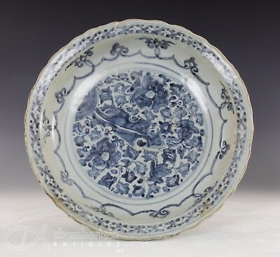 Large Antique Chinese Blue And White Porcelain Rimmed Dish - Ming Dynasty