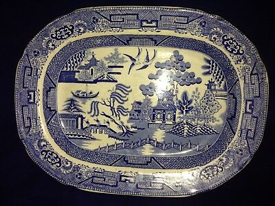 Antique English Staffordshire blue and white Willow pattern pottery platter dish
