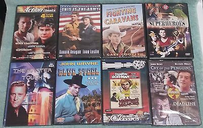 Lot of 8 Vintage Adventure DVDs Gary Cooper Dustin Hoffman Flash Gordon ALL NEW