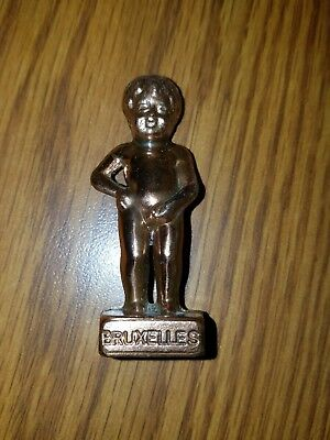Vintage Solid Brass French Peeing Boy Bruxelles Figurine