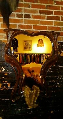 1880s Antique Art Nouveau Hand Carved Mahogany Mirror Large Victorian Furniture