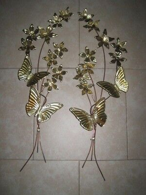 "HOME INTERIORS 2 GOLD Metal BUTTERFLY & FLOWERS Swags PLAQUES 25"" x 7"" x 2 3/4"""
