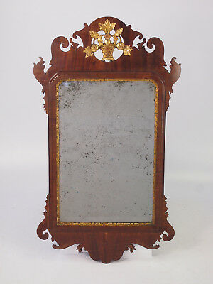 Antique Georgian Fretwork Chippendale Mirror - Hall Mahogany Giltwood Pier Glass