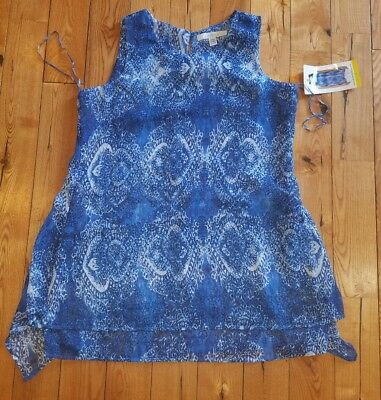 NWT Women's Blue FEVER Light Weight Sleeveless Tunic Blouse Size SMALL S