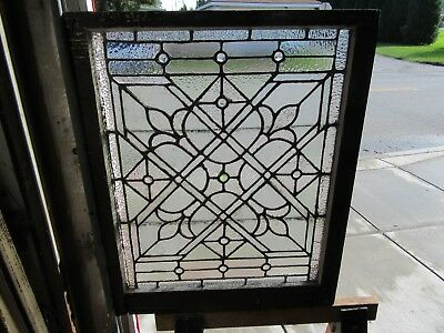 ~ ANTIQUE STAINED GLASS WINDOW ~ 11 JEWELS ~ 28 x 35 ~ ARCHITECTURAL SALVAGE ~