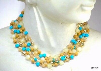 Vintage Faux Turquoise Multi Color Glass Beads Multi-Strand Gold Tone Necklace