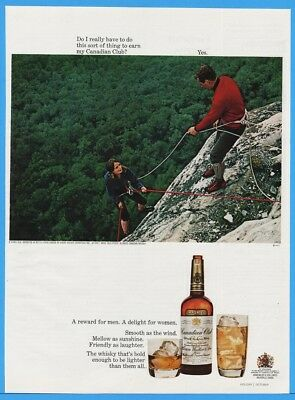 1967 Canadian Club Whiskey Mountain Climbing Couple Vintage Liquor Print Ad