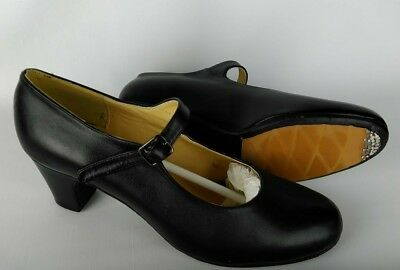 Menkes Black Leather Flamenco Dance Shoes (Academico Solea)  40.5  US 9  UK 6.5