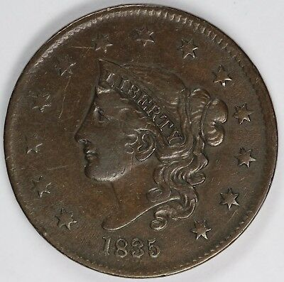 1835 1c Coronet or Matron Head Large Cent UNSLABBED