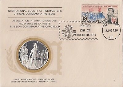 Argentina 1980 First Day Cover Limited Edition Sterling Silver Medal Proof