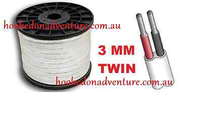Tined 30M x 3mm MARINE GRADE 2-CORE TWIN SHEATH WIRE  ELECTRICAL BOAT CABLE