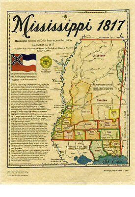 Map of Mississippi 1817 by Harvey Fletcher