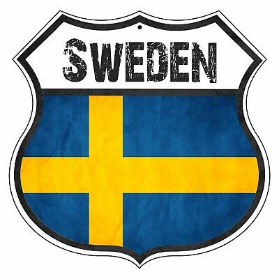 Sweden Country Flag Novelty Highway Shield Man Cave Aluminum Metal Sign