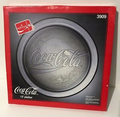 """Coca Cola 13"""" Clear Glass Embossed Serving Platter Plate in Box"""