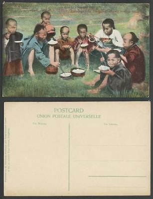 Hong Kong Greetings from Old Colour Postcard Chow Chow on Hillside, Chinese Boys