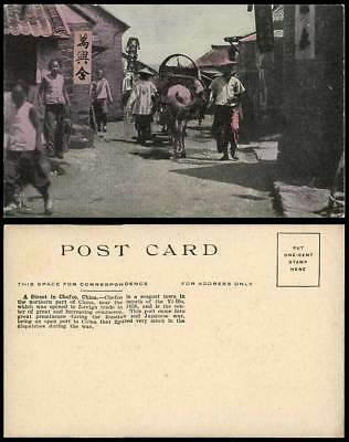 China Old Postcard Native Street Scene in Chefoo Cheefoo Seaport Town Horse Cart