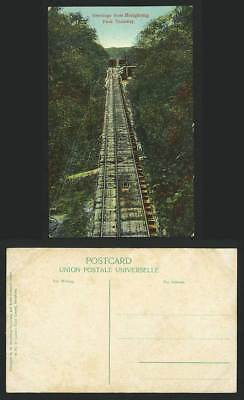Hong Kong Peak Tramway & Trams Greetings from Hongkong China Old Colour Postcard