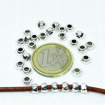 170 Tubos Facetados 5x3mm T481H Plata Tibetano Spacer Beads Tubi Perline Argento