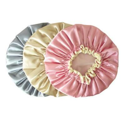 Waterproof Women Lady Elastic Satin Shower Bathing Salon Hair Cap Bath Hat - Y2