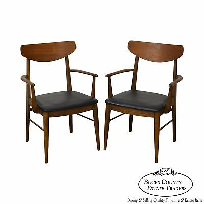 Mid Century Danish Modern Style Pair of Walnut Arm Chairs by Stanley