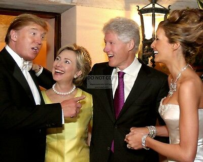 DONALD AND MELANIA TRUMP w/ BILL & HILLARY CLINTON IN 2005 - 8X10 PHOTO (OP-464)