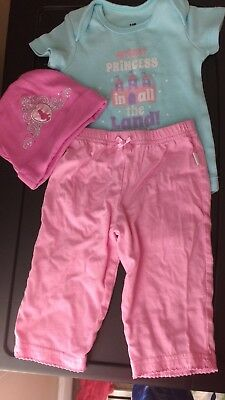 princess onsie, pant, and hat set size  3-6