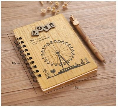 Happiness Wheel Wooden Wood Cover Journal / Book / Diary / Notebook + Pen