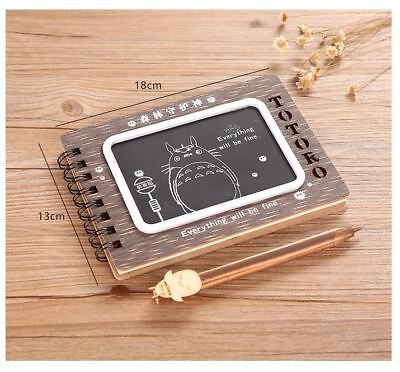 TOTORO Wooden Wood Cover Journal / Book / Diary / Notebook + Pen