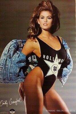 Vintage Cindy Crawford Poster Swimsuit Pin Up Model Garage Man Cave 1989
