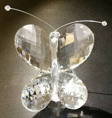 Crystal Cutting Clear Glass Butterfly Statue Figurine Sculpture Home Decor