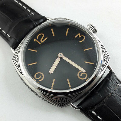 Parnis Black Dial carving military Mechanical hand winding Watch Florence