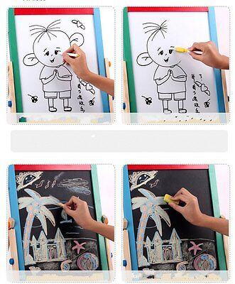 2PCS 2in1 Kids Standing Blackboard Whiteboard Double Sided Wooden Chalkboard AU