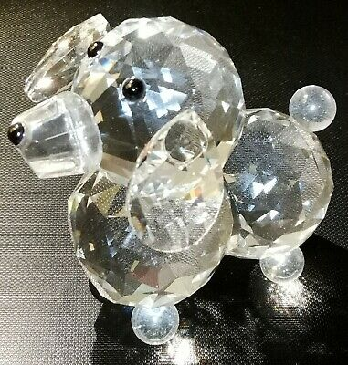 Crystal Cutting Solid Clear Glass Poodle Statue Figurine Sculpture Home Decor