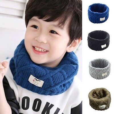Cute Cotton Winter Baby Scarf Knitted Wool O-Scarves Kids Solid Warm Scarf Kit