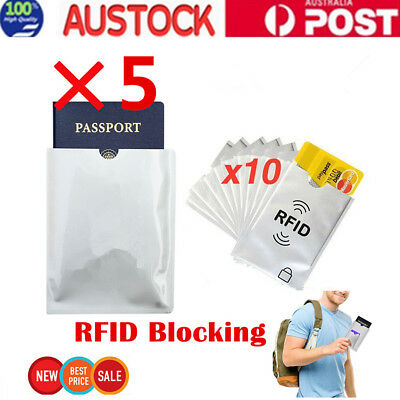 10Pcs Anti-RFID Credit Card Protector Sleeve and 5Pcs Passport Sleeve AU