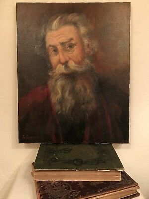 Vintage Oil On Canvas Bearded Gentlemen Older Man Captain Type Portrait Painting