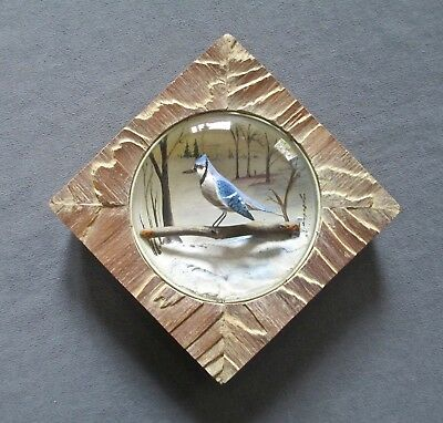 "Hand-Carved Bird Sculpture ""Blue Jay""  Diorama by Arthur Peltier"
