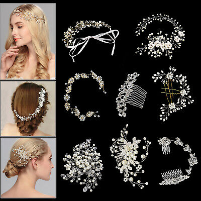 Bridal Wedding Crystal Pearl DIAMANTE HAIR COMB Pin Hairband SLIDE Prom Party