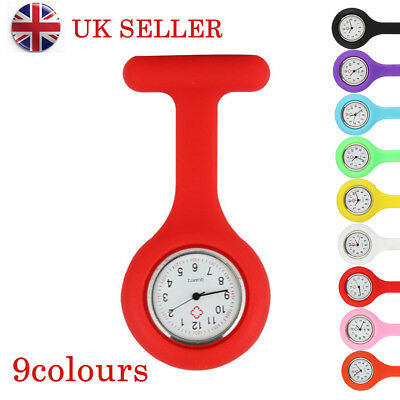 Fashion Silicone Medical Nurses Brooch Tunic Fob Watch New With Free Battery