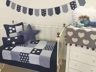 4 pce Lachlan Navy Baby Boys Nursery Cot Quilt 2 Matching Cushions Bunting Flag